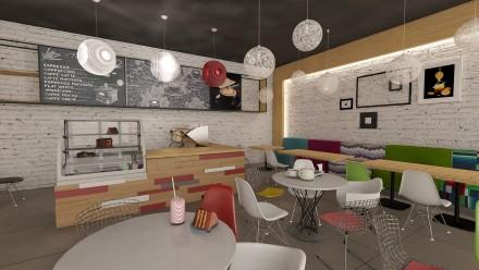 Amenajare interioara cafenea Auchan Bucuresti