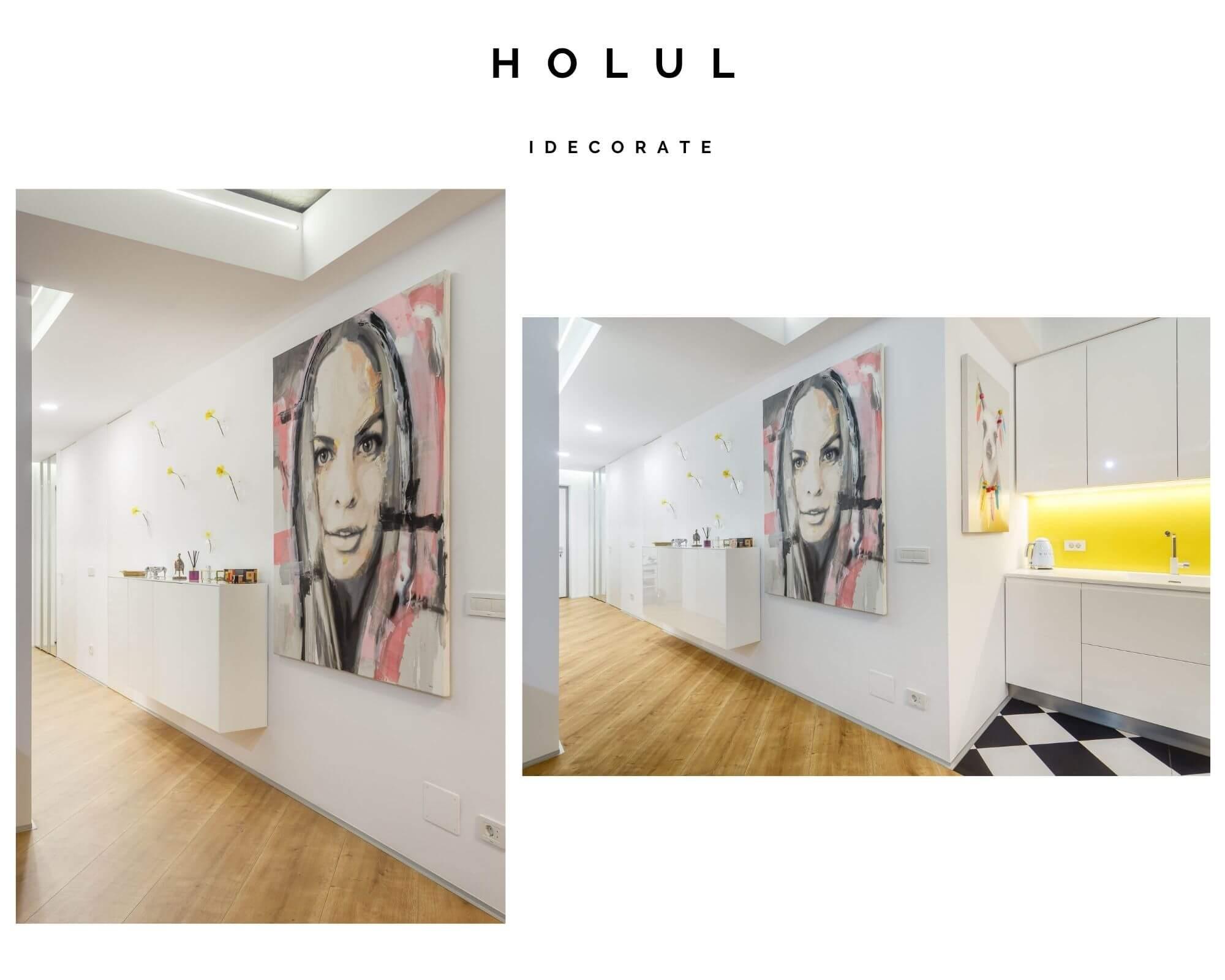 Our work – apartament cu 3 camere luminos cu accente de galben și albastru